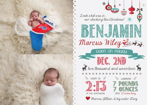 Christmas Birth Announcement, Newborn Christmas Card Template, December Baby  Announcement, Birth Card,