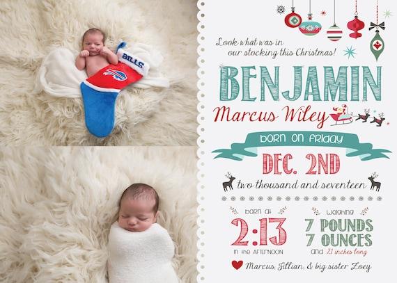 Christmas Birth Announcement, Newborn Christmas Card Template, December Baby  Announcement, Birth Card, Babys First Christmas, Xmas Printable