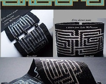 2 Patterns for 1 Price - Loom or 1 Drop Even Peyote Bead Patterns - Celtic Abstract Cuff Bracelets