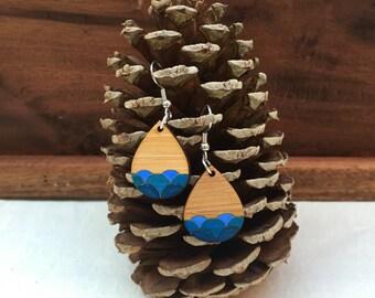 BLUE ocean wave wooden drop earrings - wooden jewelry - wooden jewellery - wooden earrings - wooden dangle earrings - geometric jewelry