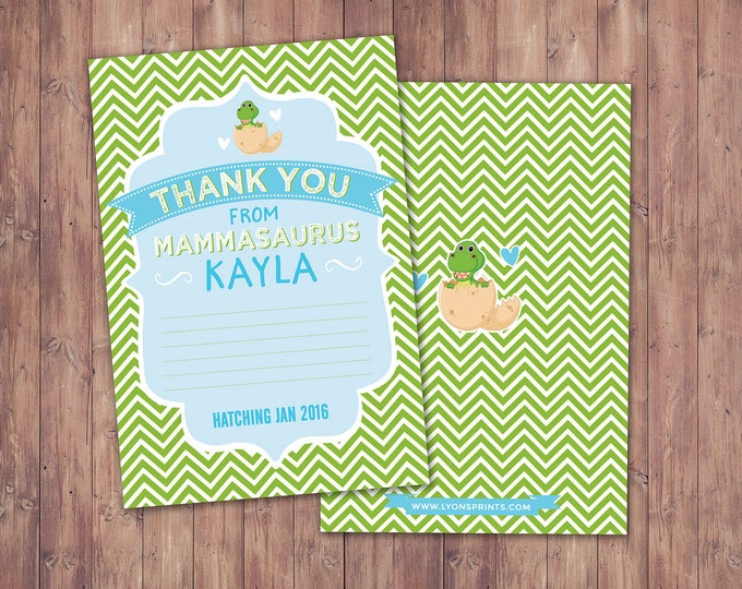Dinosaur, baby shower, thank you card, dino baby, chevron pattern, hatching, party decor,  baby shower,baby dinosaur, coed baby shower