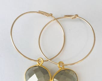 Pyrite Earrings 14 K Gold Earrings Hoop Earrings Boho Earrings Gold Earrings
