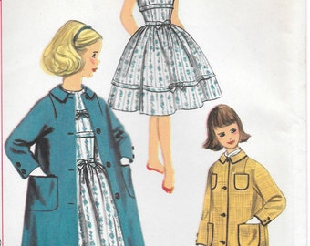 Sz 8-FACTORY FOLDED 1957 Girls' Dress and Coat Simplicity 2400 Breast 26""