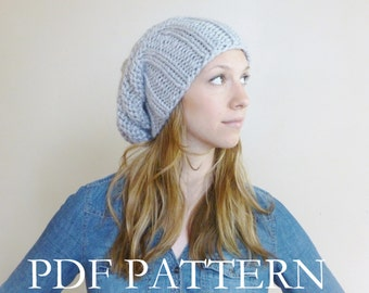 KNITTING PATTERN Tam Beanie, Knit Hat Pattern, Slouchy Beanie Knitting Pattern - Slouch Hat Pattern - Slouch Beehive Hat Knitting Pattern