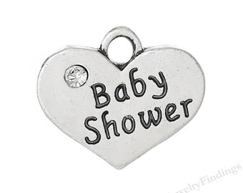 4 Silver Babyshower Charms - Baby charms - Antique Tibetan Silver Heart Charms - Mother to be jewelry charms -MC0405