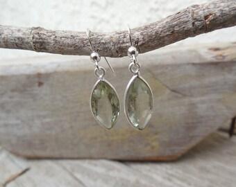 Green amethyst earrings handmade in sterling silver 925