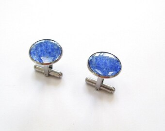Large Blue Cuff Links, upcycled beer bottle glass, mens, Glass, Large Cuff links, Holiday, Gift, Father's Day, New Orleans, Stainless Steel