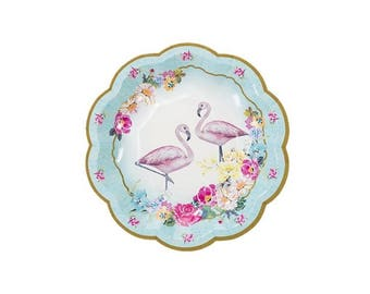 Truly Flamingo Party Plates, Tropical Theme, Tableware, Party Supplies, Talking Tables
