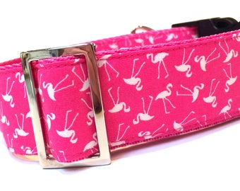Greyhound, sighthound, clip buckle collar in a fun pink flamingo fabric.  Suitable for use as a walking collar for most dogs.