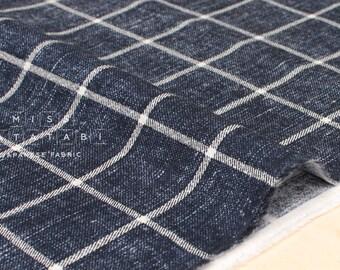 Japanese Fabric Kokka sakizome-style print check - indigo blue - 50cm