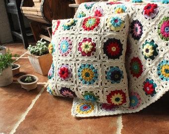 Crochet Pillow Case,Crochet Cushions,Floral Cushion Cover,100%Handmade,Outdoor Cushion,Decorative Pillows,Crocheted Throw Pillow