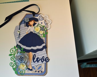Love Prima Doll Tag, Handmade Gift, use as a bookmark, room decoration, in blue, green and white