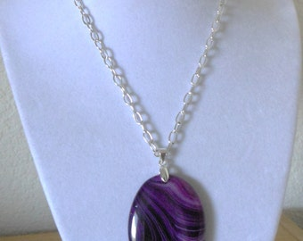 Passionate Purple/Genuine purple agate pendant with oval link chain/womens purple agate pendant/purple agate pendant with oval link chain