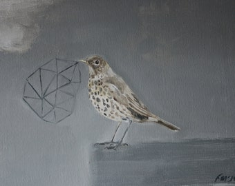 """Bird painting 'The song construct':  12"""" x 9"""""""