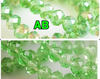 Choose your size: 8mm x 6mm / 6mm x 4mm / 4mm x 3mm swarovski Pearl rondelle faceted green clear 8mm x 6 mm - 6 mm 4 mm x 3mm rondelle beads