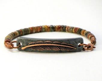 Red Creek Jasper Bracelet, Natural Stone Beaded Bracelet, Gemstone Bracelet, Feather Beaded Bracelet