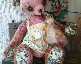 Plush teddy bear Pink bear toy Vintage style bear Artist teddy bear Mohair teddy bear Soft sculpture bear Old bear Stuffed animal teddy bear