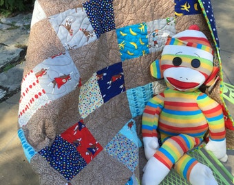 Homemade baby quilts for sale boy sock monkey quilt on sale handmade quilt boy baby gift baby boy nursery quilt for toddler quilts