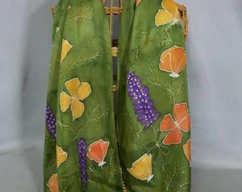 "Silk Scarf Moss Green ""California Wildflowers"", Hand Painted Silk Scarf, Golden Poppy Scarf"