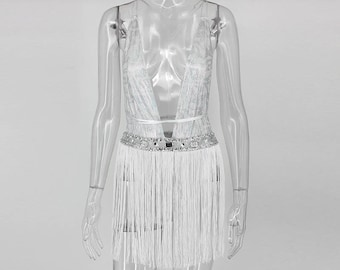 Fringe backless v neck  bodysuit with jewel waist accent