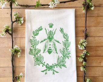 Queen Bee Dish Towel, Mothers Day Gift, Bee Keeper, Flour Sack Towel, Bee Keeper Gift, Hand Printed Tea Towel, Teachers Gifts, Gift Exchange