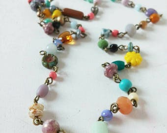 a beautiful coloured beaded boho style necklace...