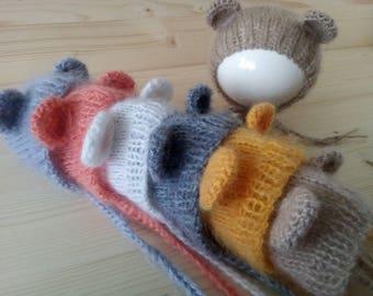 Newborn Bear Hat, Mohair Newborn Hat, Newborn Hat, Newborn Girl Hat, Newborn Boy Hat, Newborn Photo Prop, Knit Newborn Hat, Newborn Bonnet