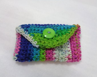 Crochet Purse Pouch, Colorful Business Card Holder ~Tissue Holder, Cell Phone Case, Button Closure Gift Card Case ~Stocking Stuffer