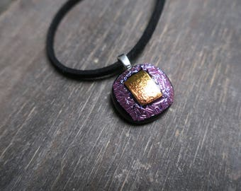 Pink and Orange Dichroic Glass Necklace