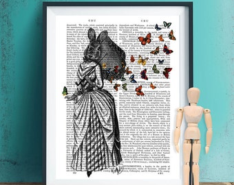 Rabbit And Butterfly Parasol - Rabbit Print Butterfly Illustration Print Art Drawing Poster Digital Print Wall Art Wall Décor Wall Hanging