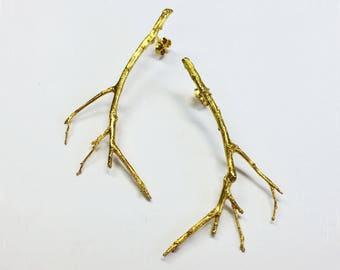 gold twig earrings gold branch earrings 24K gold plated silver twig earrings - gold branches botanical earrings gift for mom