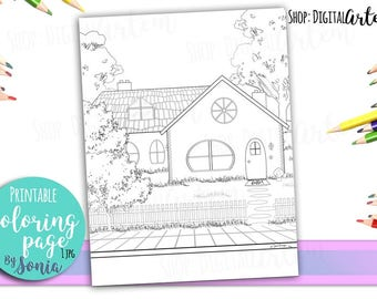 Adult Coloring Pages -Country house, Cottage colouring page -Coloring Pages for Adults -Digital illustration -Instant Download Printable -