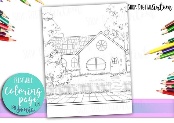 Adult Coloring Pages Country House Cottage Colouring Page