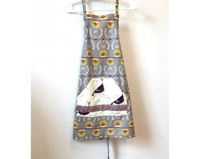 Featured listing image: Organic Cotton EZ Slide Bib full Apron, Charley Harper Fabric, turkeys, mocking birds, cats, kangaroo packet