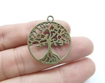 15pcs Tree of life Charms- Antique Bronze Rustic Patina Wish Tree Charm Pendants, Lucky Tree 25x29mm C8156