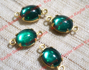 10x8 oval Emerald Vintage Swarovski Crystal Set in Raw Brass 2 Ring Settings Link