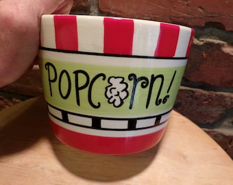 Popcorn bowl, Red, Pier 1 Popcorn Serving bowl, movie room décor, man cave décor