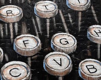 "Vintage typewriter keys wall art / Original Artwork deep texture Abstract Painting Modern 12"" x 12"" one of a kind"