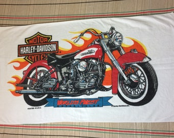 1980s Harley Davidson motorcycle large cotton beach towel 53x30 by Franco
