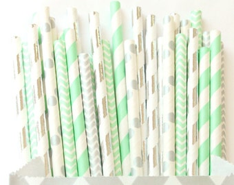 Mint green and silver paper straws-set of 25- Vintage chic mint and silver paper straws, mint and silver party supplies, wedding straws