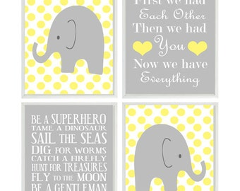 Baby Boy Wall Art, Elephant Nursery Prints, Gray Yellow Decor, Polka Dots, Boy Rules, First We Had Each Other Quote, Baby Boy Nursery,
