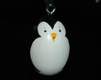 Penguin Ornament - Hand Painted - Personalized - Solid Wood