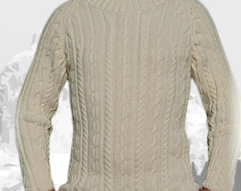 """Pure Cashmere Sweater for Men """"Whistler Mountain"""", hand knit with cables and turtle neck - MADE TO ORDER"""