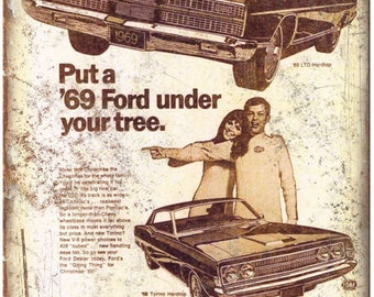"1969 Ford Thunderbird Dealer Sales Ad 10"" x 7"" Retro Look Metal Sign"