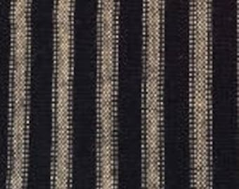 Vintage Ticking | Homespun | Primitive Fabric | Country Fabric | Black & Wheat