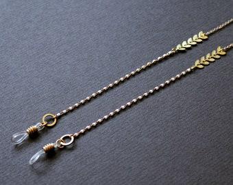 Gold sunglasses chain white enamel eyeglass holder leaf glasses strap modern summer accessories chain for glasses trendy fashion cool -Norah