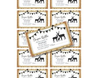 INSTANT DOWNLOAD - Family Deer Woodland Burlap Diaper Raffle DIY Printable (Digital File Jpeg and Pdf)