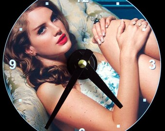 New LANA DEL REY Wall Clock - Cd Size! 4.75 inch diameter. Lizzy Grant. Ray. Ultraviolence Born to Die Singer. Honeymoon. Makes a nice gift!
