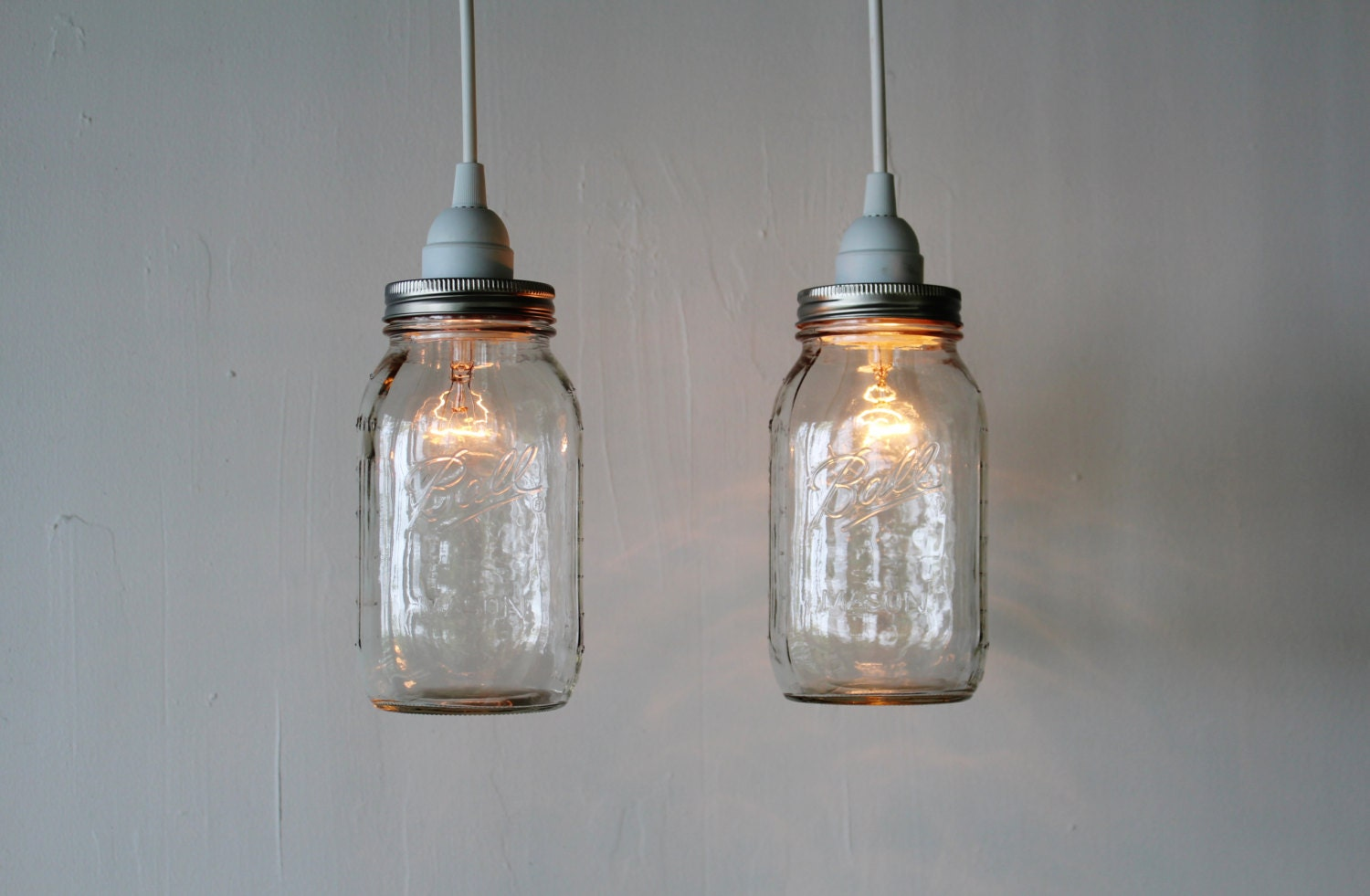 Pair of mason jar hanging pendant lights upcycled rustic zoom arubaitofo Gallery