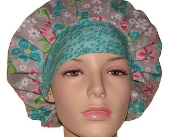 Bouffant Scrub Hats-Flora and Fauna-ScrubHeads-Scrub Hats for Women-Anesthesia Scrub Hats-Floral Scrub Hats-Women's Scrub Hats